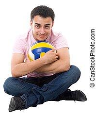 homem, com, voleibol