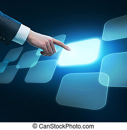 homem, conceito, empurrar, button., mão, escolha