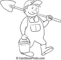 homem, contorno, jardineiro