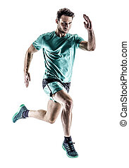 homem, corredor, jogger, executando, isolado