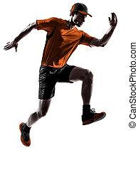 homem, corredor, jogger, executando, sacudindo, pular, silueta