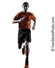 homem, corredor, jogger, executando, sacudindo, silueta