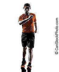 homem, corredor, jogger, silueta