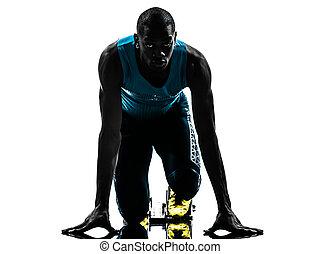 homem, corredor, sprinter, ligado, começar bloqueia, silueta