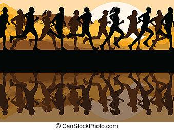 homem, corredores maratona, mulheres