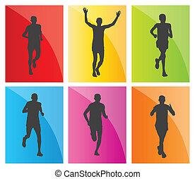 homem, corredores maratona, silhuetas, jogo
