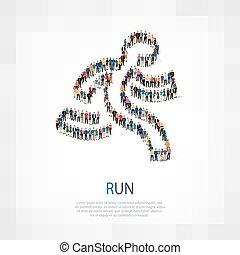 homem, corrida, símbolo, pessoas