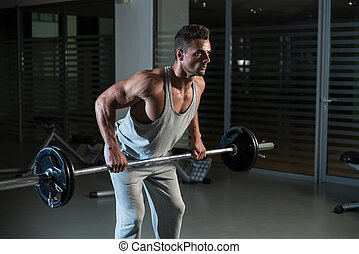 homem, costas, exercício, barbell