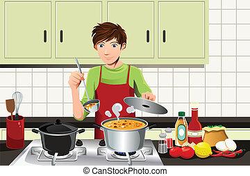 homem, cozinhar