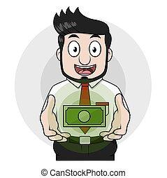 homem, dólar, negócio, mão