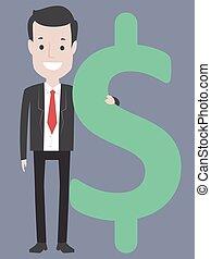 homem, dólar, segurando, sinal negócio