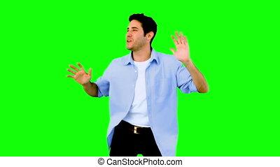 homem, dançar, e, tendo divertimento, ligado, verde