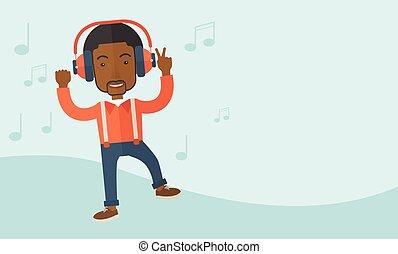 homem, dançar, jovem, enquanto, escutar, music., feliz