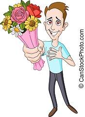 homem, dar, buquê flor