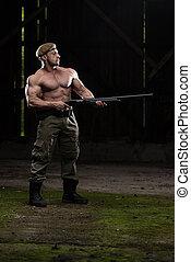 homem, desenho, metralhadora, em, defesa self