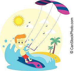 homem, desfrutando, kitesurfing