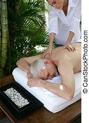homem, desfrutando, um, massagem