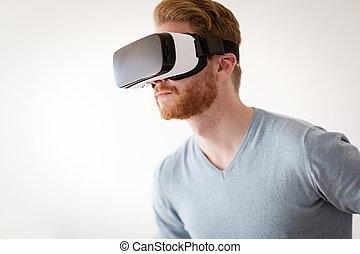 homem, desgastar, futuro, tecnologia, vr, óculos