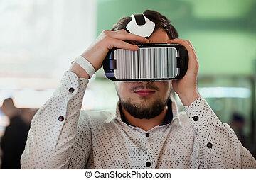 homem, desgastar, realidade virtual, óculos