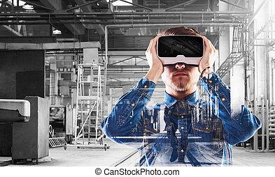 homem, desgastar, realidade virtual, goggles., nós