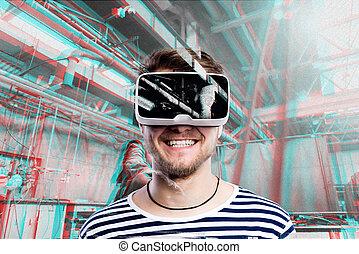 homem, desgastar, realidade virtual, goggles., soldadura, factory.