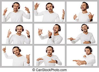 homem, diferente, retratos, colagem, emoções