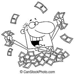 homem dinheiro, pilha, feliz