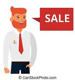 homem, diz, venda, caricatura, apartamento, vetorial, ilustração, conceito, ligado, isolado, fundo branco