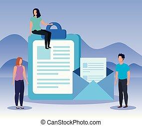 homem, documentos, trabalho equipe, letra, mulheres