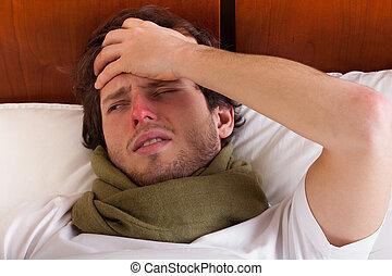 homem doente, cama