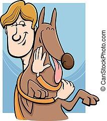 homem, e, cão, caricatura, ilustração
