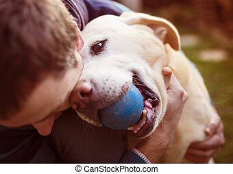 homem, e, cão