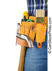 homem, e, ferramentas, em, leathern, cinto, isolado