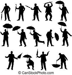 homem, e, guarda-chuva, silhuetas