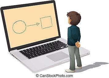 homem, e, laptop