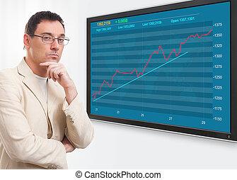 homem, e, mercado conservado estoque, gráfico, ligado, digital, tela