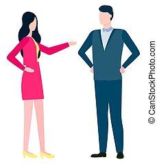 homem, edição, mulher, consultar, discutindo negócio