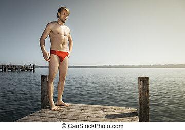 homem, em, a, lago