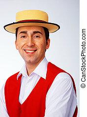 homem, em, amarela, chapéu, e, vermelho, colete