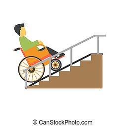 homem, em, cadeira rodas, montando, ligado, escadas,...
