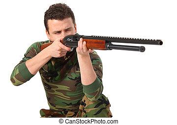 homem, em, camuflagem, objetivos, de, arma
