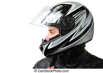 homem, em, capacete