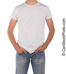 homem, em, em branco, camisa branca