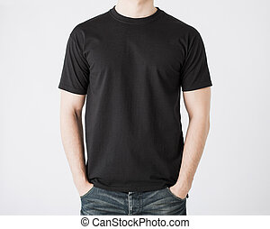 homem, em, em branco, t-shirt