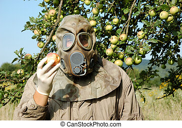 homem, em, máscara gás
