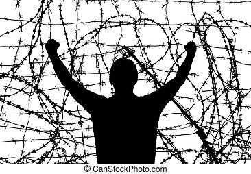 homem, em, prisão