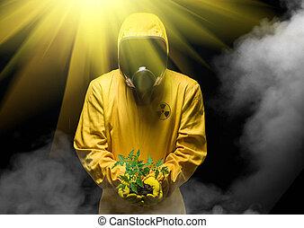 homem, em, químico, proteção, paleto, e, planta verde