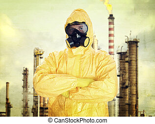 homem, em, químico, terno protetor, sobre, fábrica