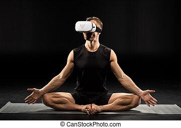 homem, em, realidade virtual, óculos