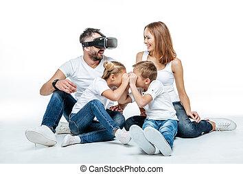 homem, em, realidade virtual, headset, com, família